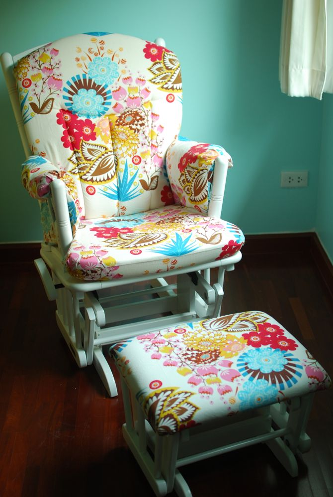 "Anna Maria Horner's ""summer totem"" in tart from her Loulouthi line used in reupholstering a nursery room glider. Can I say- LOVE !!!"