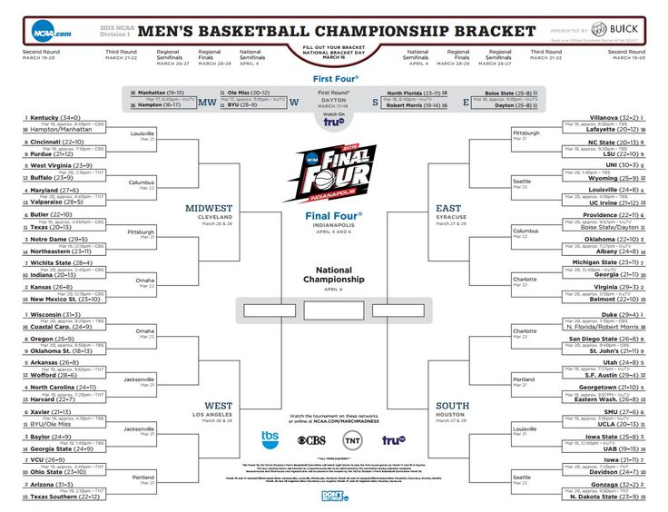 2015 NCAA Tournament Printable Bracket #printable #ncaa #bracket