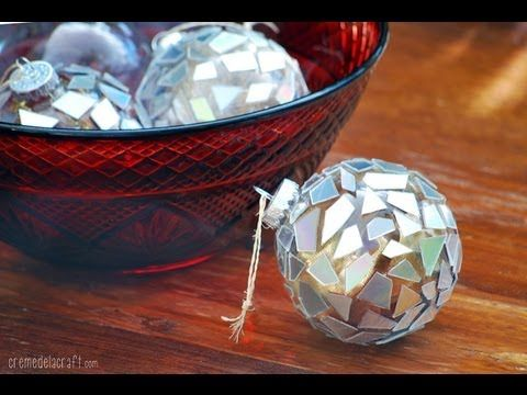 The Perfect DIY Sparkly Mosaic Ornaments from CDs