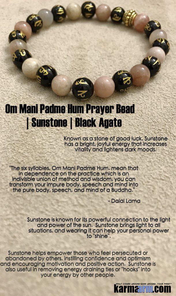 Bracelets I Law of Attraction | #LOA | Beaded & Charm Yoga Mala I Meditation & Mantra I Spiritual. Black Agate Sunstone.