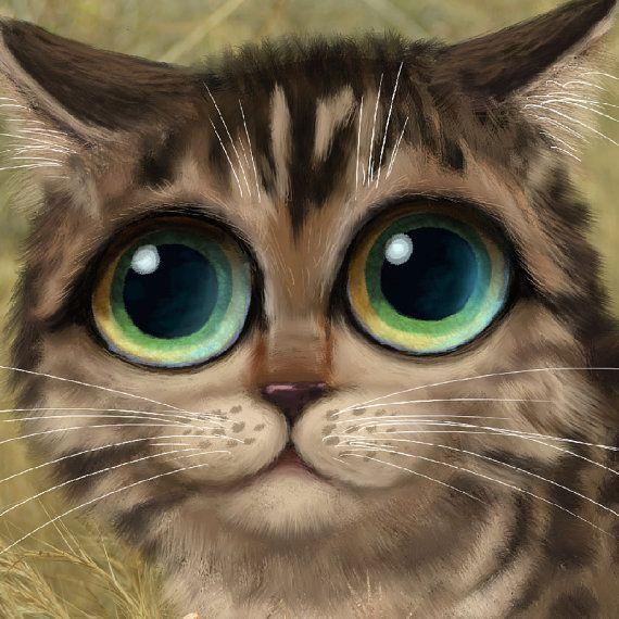 Keane Inspired big eyed cat print jungle art by SarahSpringStudio