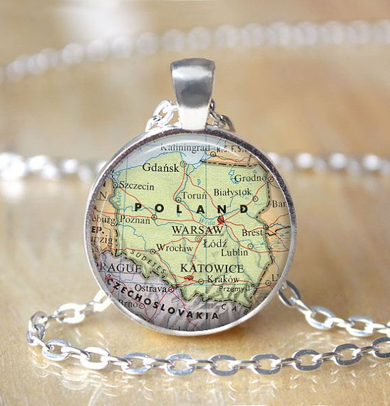 Poland Map Necklace Vintage Map Pendant by ShakespearesSisters, $9.00