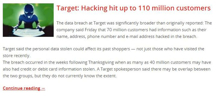 Target: Hacking hit up to 110 million customers  Read more, http://www.serversentry.com.au/target-hacking-hit-110-million-customers/