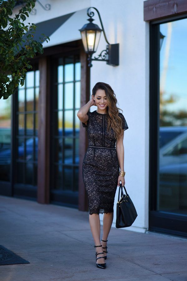 Jessica R. looks utterly elegant in this stunning lace dress, worn with strappy stilettos and a leather bag for a perfect evening style. Wear this look for formal occasions and be sure to steal the show!   Dress/Heels: Marks & Spencers.