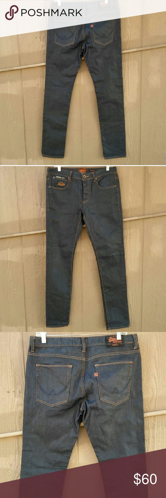 """SUPER DRY Men's Skinny Jeans Size 32 X 32"""" Jeans in pre-loved excellent condition. Dark wash, 98%cotton, 2%elastane. Waist measures 32 inches, rise is 9 inches, inseam is 32 inches and the leg opening is 13 inches. Superdry Jeans Skinny"""