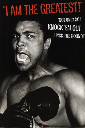 Muhammad Ali is becoming my favorite boxer even though he doesn't box anymore! Reading about him intrigues  me.