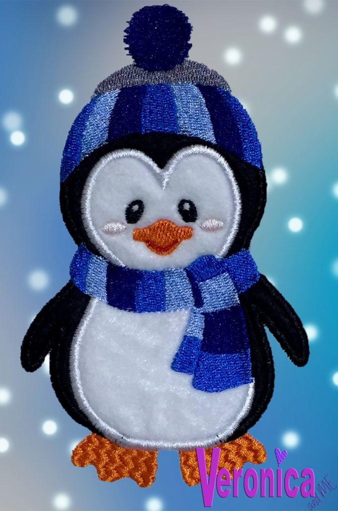 Boy Penguin with Scarf and Hat Appliqué Design