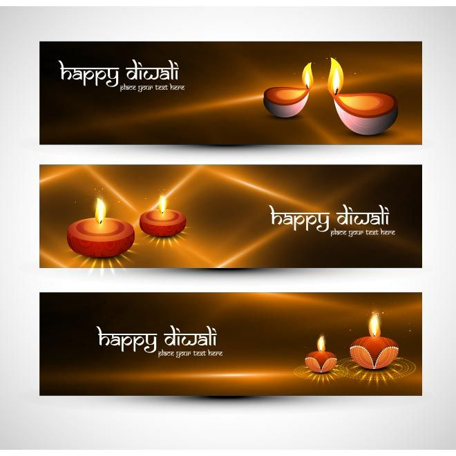 Vector Happy Diwali brown lighting with glowing diya lamp banner set design illustration