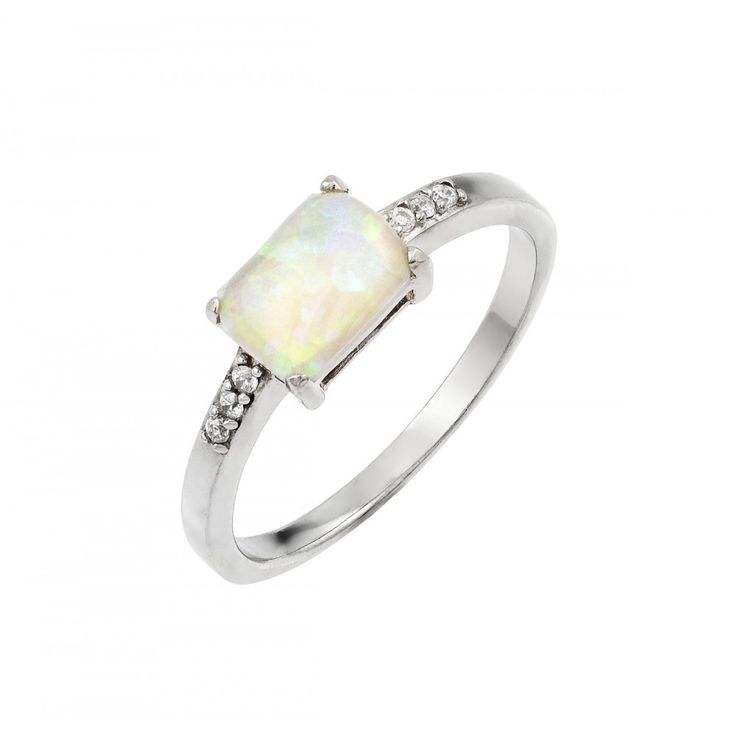 Sterling Silver Rhodium Plated Clear CZ Baguette Opal Ring