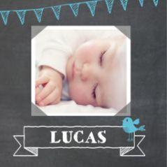 4-luik krijtbord geboortekaartje jongen