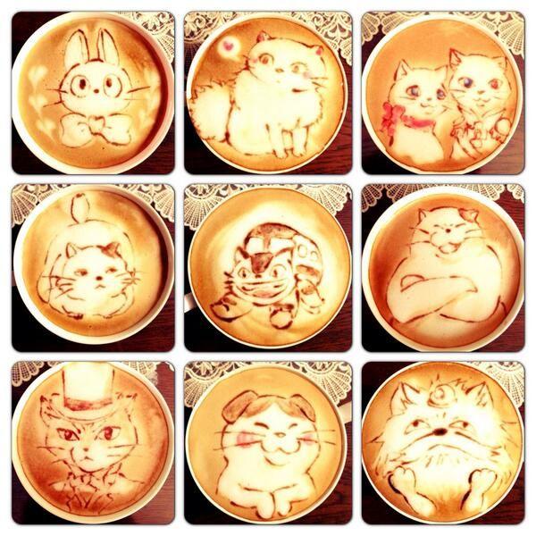 Cafés decorados con ilustraciones de películas del Studio Ghibli.