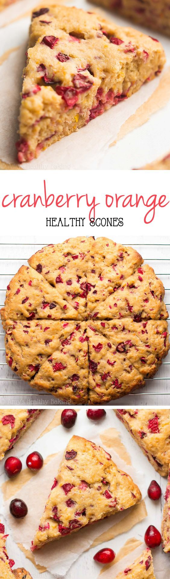 Healthy Cranberry Orange Scones -- so tender and ready in 30 minutes! Nearly 5g of protein too!