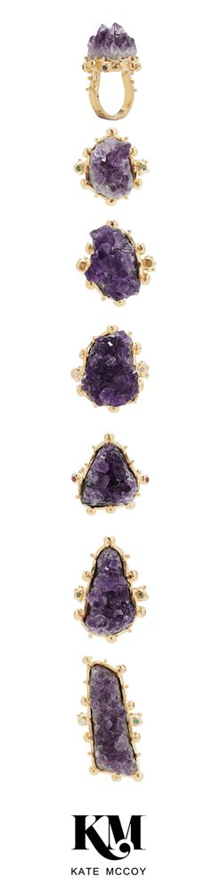 Raw Amethyst Rings by Kate McCoy | The beauty of raw. Dare to be different! #GiftIdea #FebruaryBirthstone #Celebration #Milestone #Heirloom #Birthdays