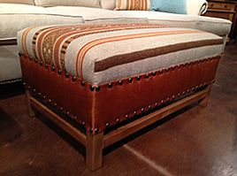 Fun Fabric and Leather Ottoman by Berry Creek Home. Showcased at Las Vegas Furniture Market 2014