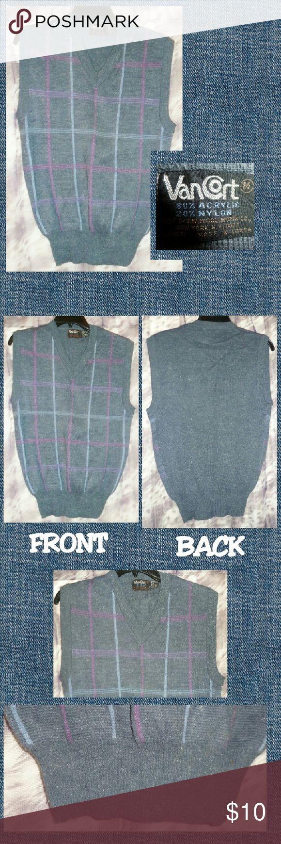 Selling this Lt.Gray Checkered V-Neck Sleeveless Vest Sz Medium on Poshmark! My username is: gothicbluecj. #shopmycloset #poshmark #fashion #shopping #style #forsale #Van Cort #Other