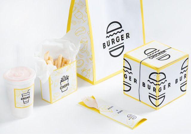 Burger packaging design. I can't get over how much I love monoline design with simple touches like this yellow border.