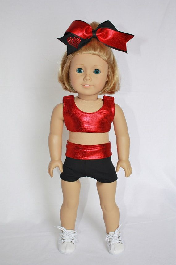 """American Girl  18"""" Doll Clothes and Accessories -  Cheer Sports Bra and Shorts - Red Metallic and Black on Etsy, $25.00"""
