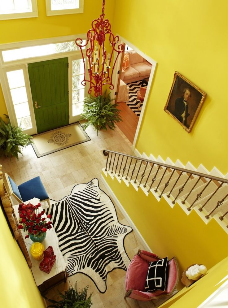 funBedrooms Rugs, Ideas, Green Doors, Yellow Wall, Modern Entry, Zebras Rugs, Front Doors, Homes, Bright Colors