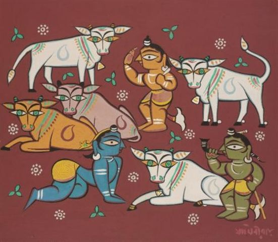 Jamini Roy - Untitled (Krishna with cowherds)
