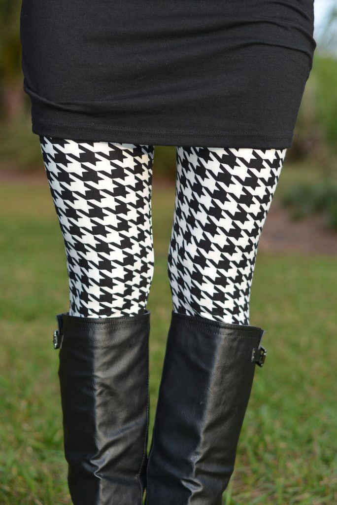 HOUNDSTOOTH Black White Leggings Shop Simply Me Boutique – Simply ...