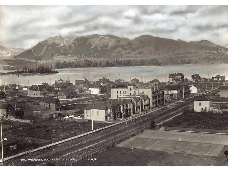 Downtown from the first Hotel Vancouver, circa 1889. This is a slightly later version of the Notman photo that will be for sale; the hotel was at Granville and Georgia, the street is Howe.