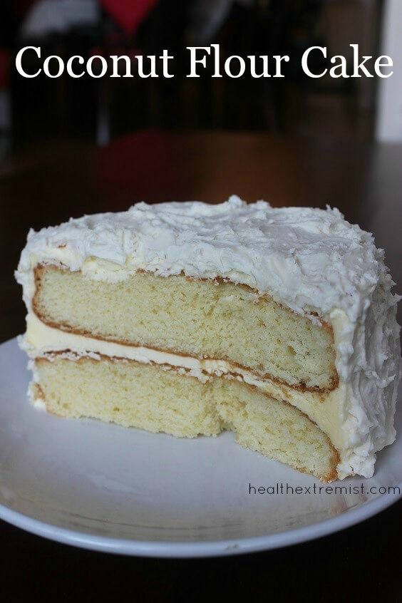 This paleo coconut flour cake recipe only contains one type of flour, coconut flour! This paleo cake is delicious, fluffy and moist. The cake and frosting are both gluten free, grain free, gluten free. I made this coconut flour cake for my brother's birthday and he loved it. He said he couldn't tell that it was paleo.