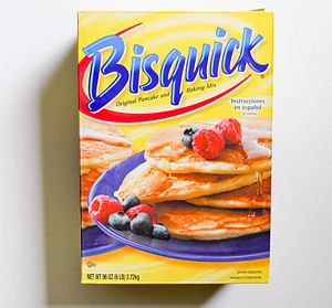 @Emmily Patella Found a substitute in case your interested...1 cup flour  1 1/2 teaspoons baking powder  1/4 teaspoon salt  1 tablespoon shortening, oil, or melted butter. Makes a cup of bisquick.