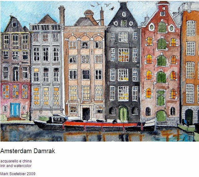 Interesting India ink and watercolor view of Amsterdam as featured on flickr.
