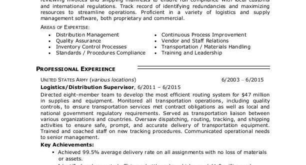 Logistics Resume Examples Supply Management Resume