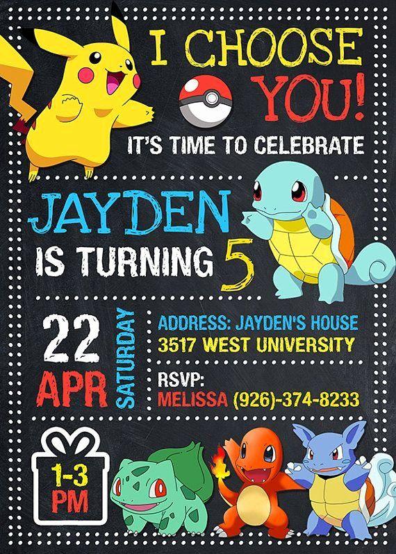 Pokemon Birthday Party Invitations Unique Pokemon Invitation Pokemon Birthday Pokemon Invite Pokemon Pokemon Party Pokemon Invitations Pokemon Birthday Invites