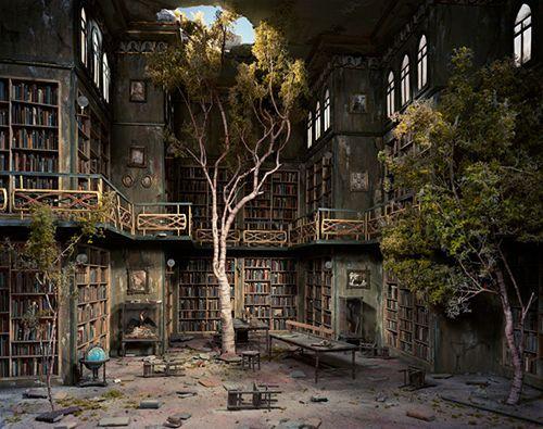 books, floor, library, railing, room