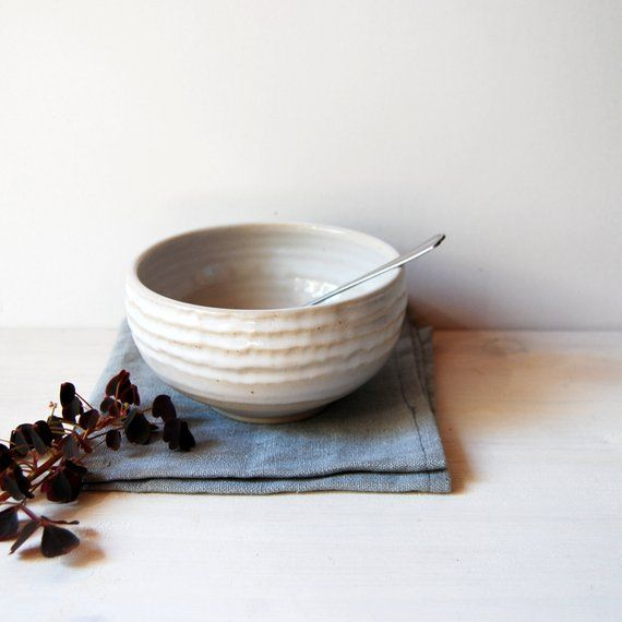 Breakfast Bowl Cereal Bowl Faceted Bowl Stoneware Pottery Hand Thrown Bowl Housewarming Gift White Ceramics Modern Ceramics Handmade Breakfast Bowls Cereal Bowls Modern Ceramics
