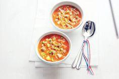 Kijk wat een lekker recept ik heb gevonden op Allerhande! Gevulde tomaten-groentesoep