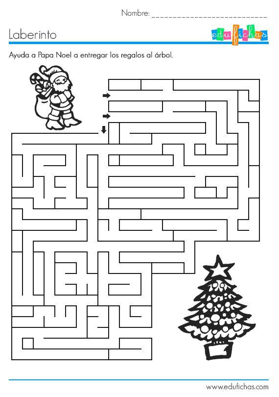 Laberinto de Navidad  http://www.edufichas.com/actividades/recursos-educativos/laberintos/laberinto-de-navidad/  #laberinto #navidad #noel