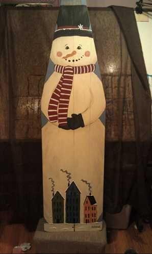 ShopHandmade - Snowman on Antique Ironing Board