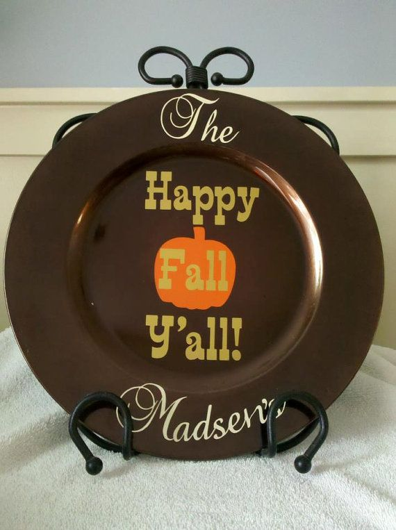 Fall Thanksgiving Decorative Plate By Thecricketscorner On
