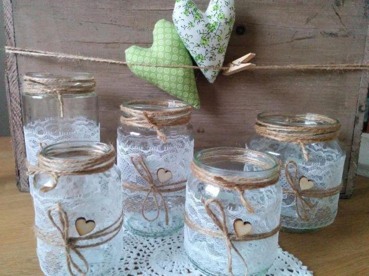 ♥ Vasen / Windlichter mit Spitze und Herz …