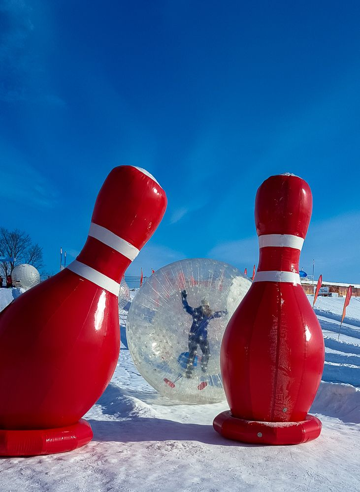 Snow bowling at Quebec's Winter Carnival. www.casualtravelist.com