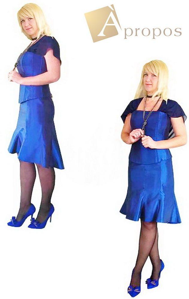 Coctailkleid Abendkleid 2- Teiler Stola Korsage Rock Knielang Blau Taft Apropos