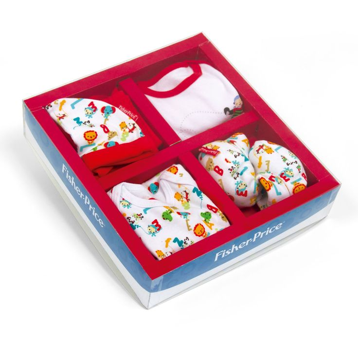 5-delige kleding cadeauset van Fisher Price. De set bevat uit een rompertje met dierenprint met korte mouwen met een bijpassend mutsje en schoentjes. Daarnaast vind je in de cadeauverpakking nog een rood broekje en een t-shirt met een schattige afbeelding van een krokodil, een vliegtuig, een beertje en de letters A en B. De set is gemaakt van 100% katoen en is geschikt voor baby's van 0 tot 6 maanden. Afmeting: verpakking 34 x 30 x 7,5 cm - Fisher Price Kleding Cadeauset, 5dlg.