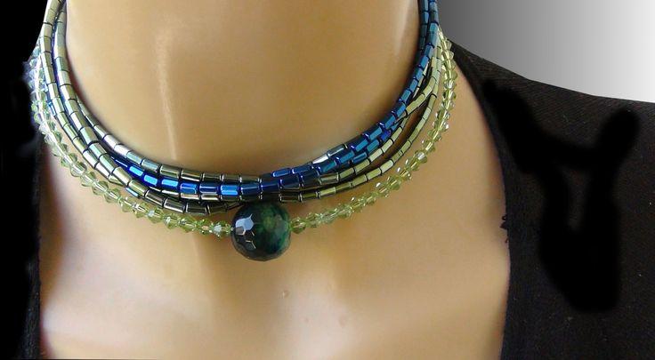 2 Collane| Collana  Perline Boemia  & Girocollo Swarovski  perline blue e verdi | | Colori brillanti | di Frammentidivetro su Etsy