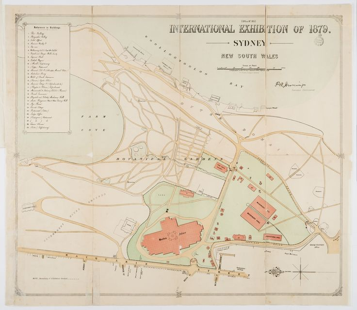 International Exhibition of 1879, Sydney, New South Wales. 1879. This map shows the location of the Garden Palace in the Royal Botanic Gardens. Mitchell Library, State Library of New South Wales: https://library.sl.nsw.gov.au/record=b3636631