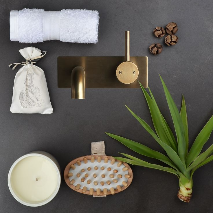Loving this natural look created by our Pegasi M Backplate Basin Mixer in our all time popular Antique Brass Light finish. Use raw textiles and add some greenery to your bathroom to complete the organic earthy feel. #faucetstrommen #pegasi #antiquebrass