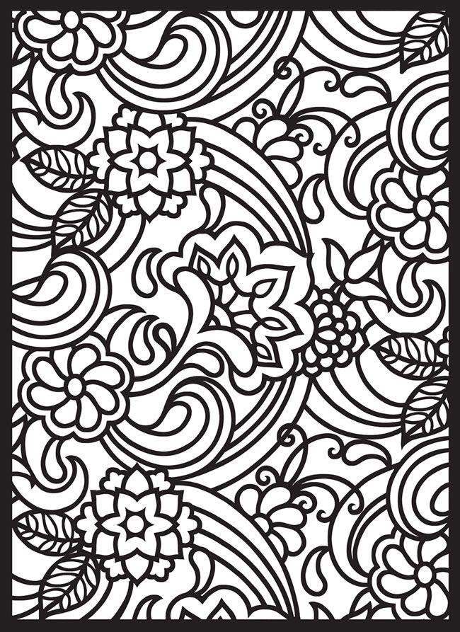 Paisley Designs Stained Glass Coloring Book Printables