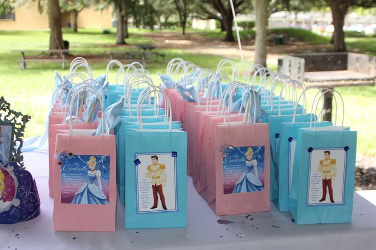 Cinderella theme birthday party goody bags from party city w/ internet printouts