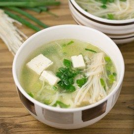 This vegetarian vegetable tofu soup is made with enoki mushrooms and tofu. I used napa cabbage in this recipe but greens like bok choy may also be used.