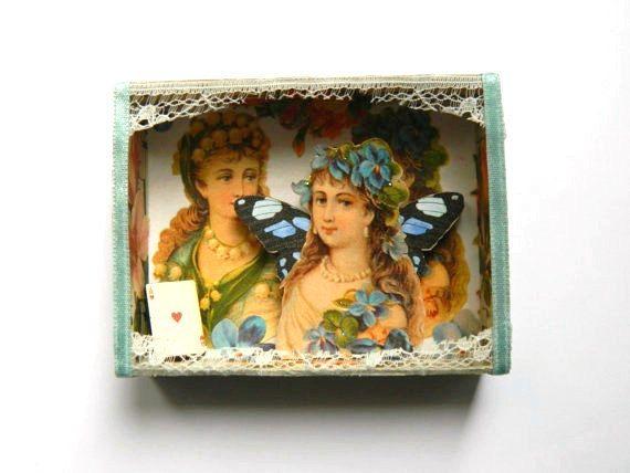 Fairy schaduw Box, matchbox Art, Assemblage-kunst, kleine kunst, Faerie kunst, Flower Fairy Gift, Gift voor bruidsmeisje, Victoriaanse Flower Fairies