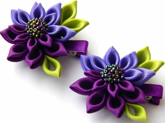 Hey, I found this really awesome Etsy listing at https://www.etsy.com/listing/224774682/kanzashi-fabric-flowers-set-of-2-hair