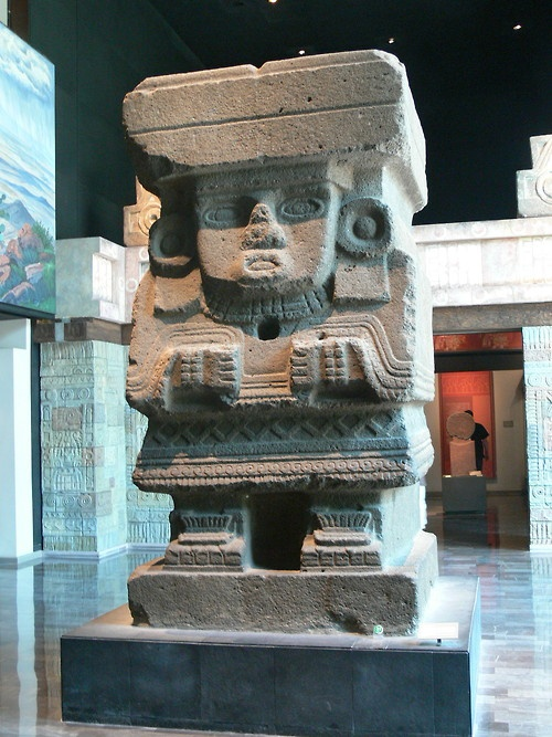 Chalchiuhtlicue, godess of horizontal waters. The sculpture comes from the front of the Pyramid of the Moon, Teotihuacán.    Photocourtesy Wolfgang Sauberand the National Museum of Anthropology, Mexico.