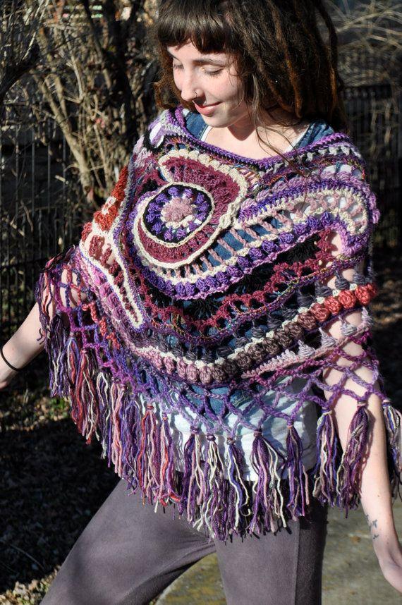 Purple Dragonfly Freeform Poncho by OfMars on Etsy, $180.00